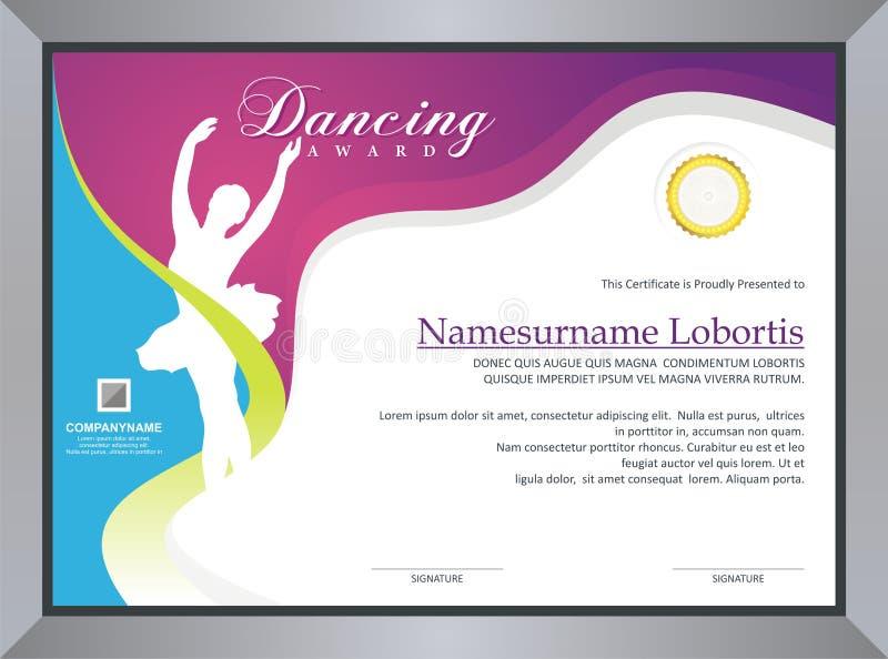 Dancing Certificate. Dancing - dance - ballet Certificate / diploma Template design, in a4 size vector illustration
