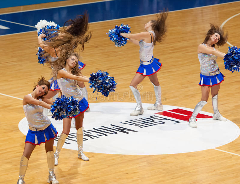 Dancing cheerleaders stock image