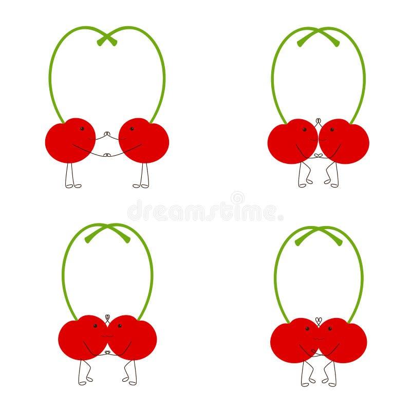 Dancing cherries vector illustration