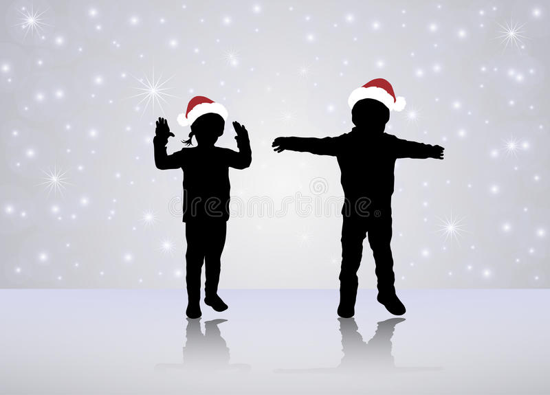 Dancing children silhouettes royalty free illustration