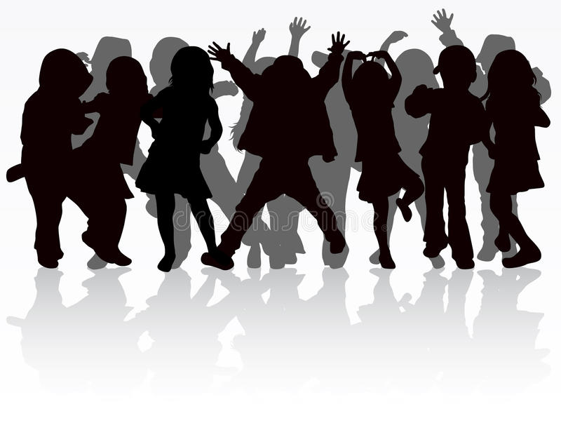 Dancing children silhouettes. Party time stock illustration