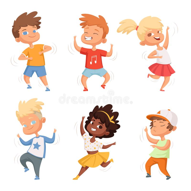 Dancing childrens male and female. Set vector characters royalty free illustration