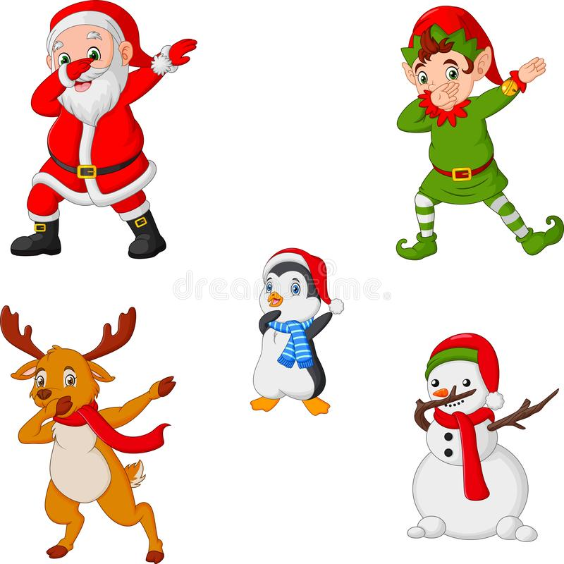 Dancing christmas cartoon santa claus, elf, reindeer, penguin and snowman vector illustration