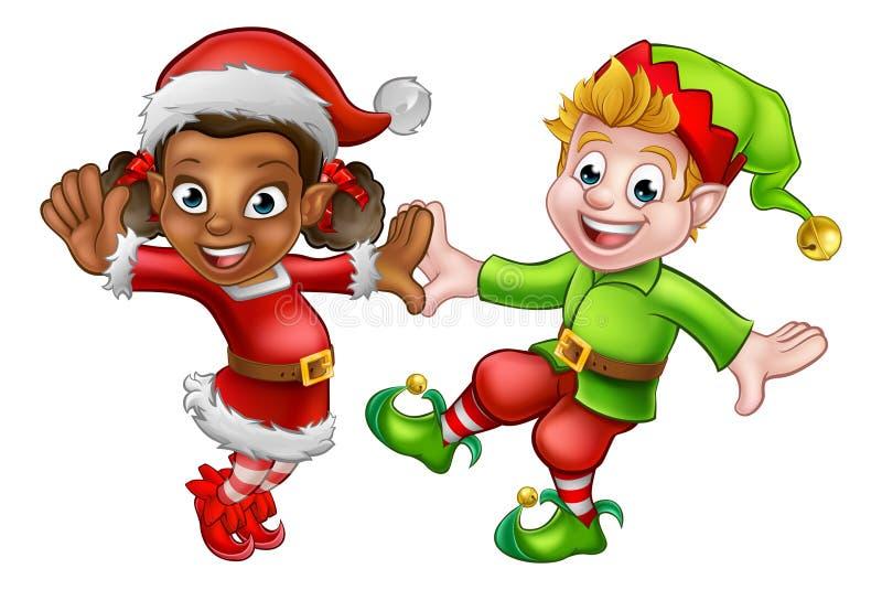 Dancing Christmas Elves vector illustration