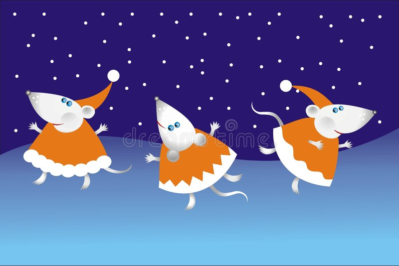 Dancing Christmas mouse stock images