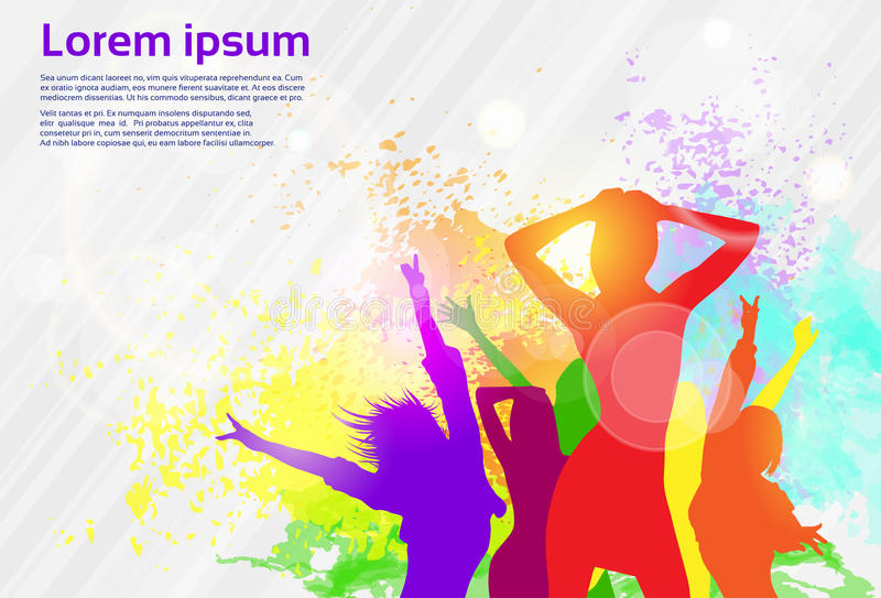 Dancing Colorful Girl Splash Paint Dance Banner. Vector illustration vector illustration