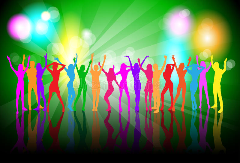 Dancing Colorful People Silhouettes Girls Dance stock illustration
