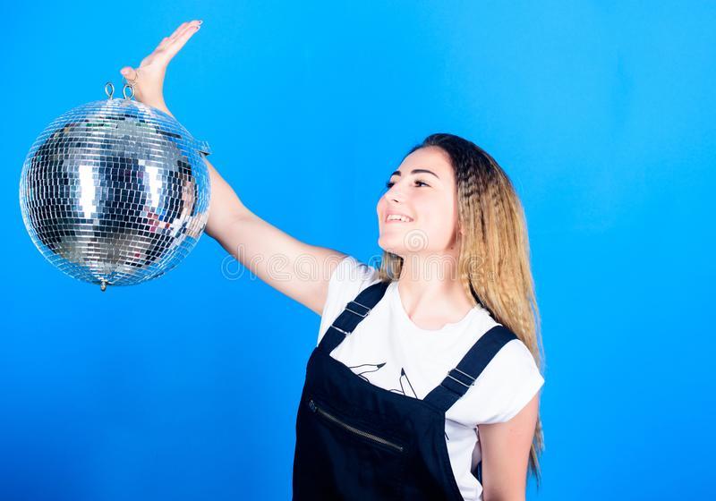Dancing contest. Dancing school. Cheerful woman dancing teacher hold disco ball. How about party. Night club. Retro royalty free stock photo