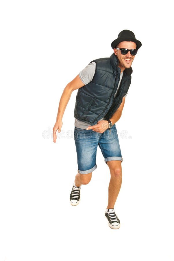 Dancing cool rapper. And smiling isolated on white background royalty free stock photos