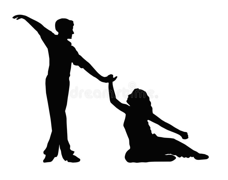 Dancing Couple Boy Helping Girl to Feet royalty free stock photography
