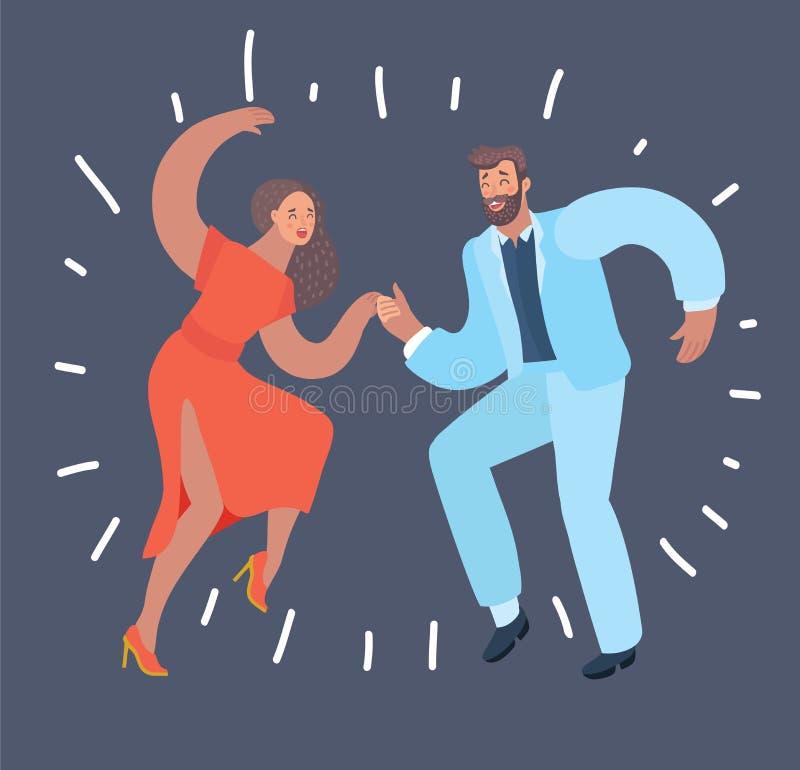 Dancing couple at dark background. vector illustration