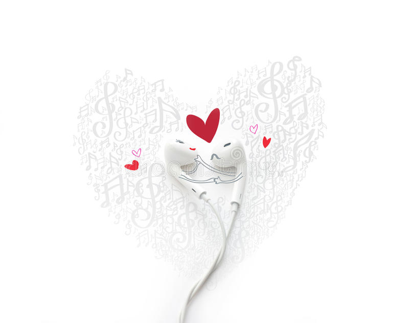 A dancing couple fall in love with painted, earphone lovely concept. A dancing couple fall in love with painted, earphone lovely royalty free stock images