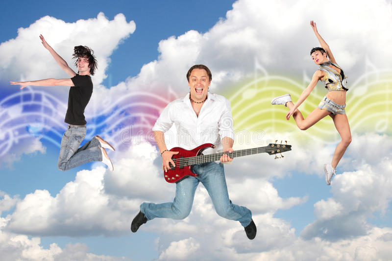 Dancing couple and guitarist clouds collage stock photos