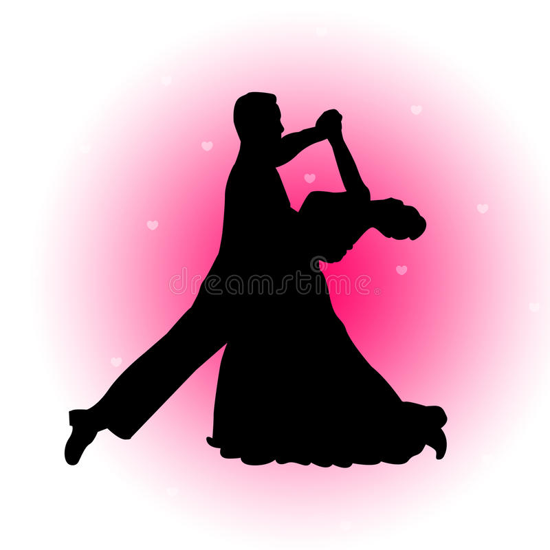 Dancing couple with hearts background royalty free illustration