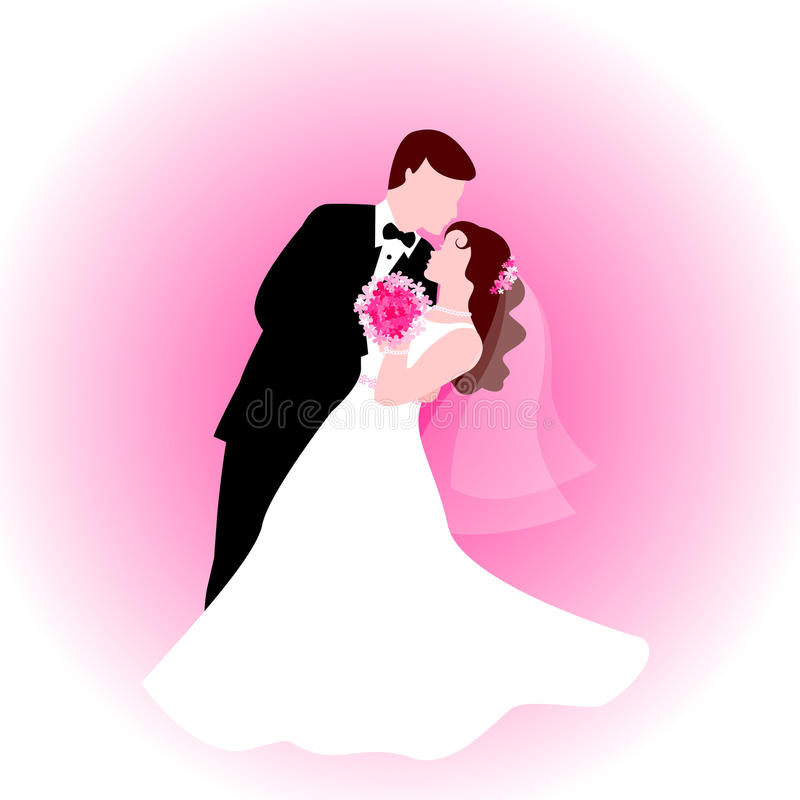 Dancing couple with pink background vector illustration