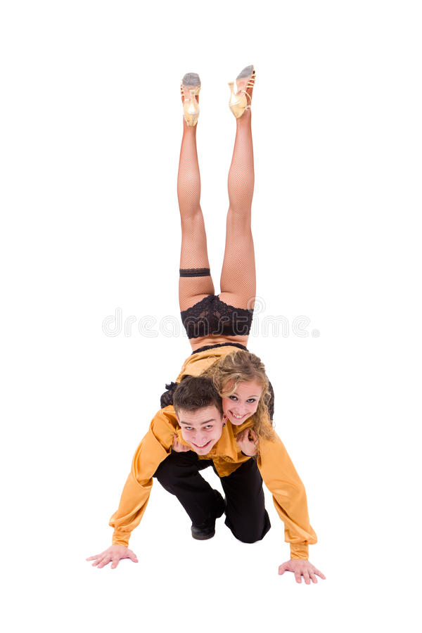 Download Dancing Couple Posing Against Isolated White Stock Image - Image of entertainment, party: 17263457