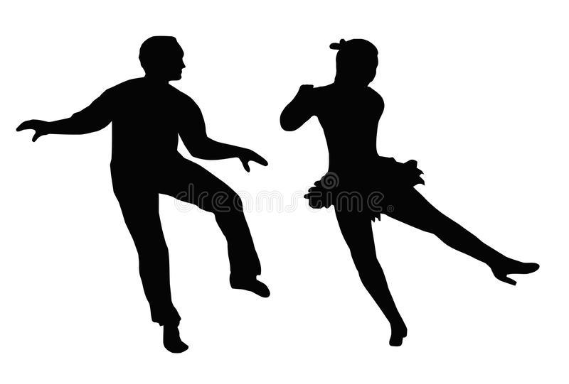 Dancing Couple Steps and Kick royalty free stock image