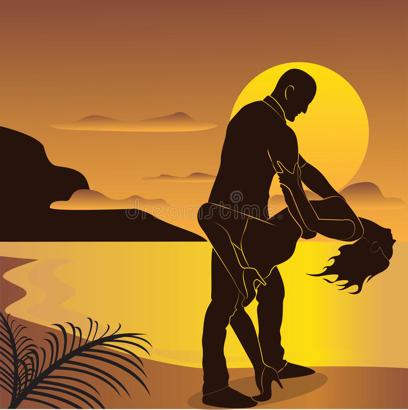 The dancing couple. On the sunset background stock illustration