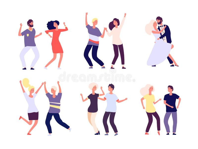 Dancing couples. Happy persons dance salsa, tango adults woman man dancers in love. Party crowd fun isolated vector stock illustration