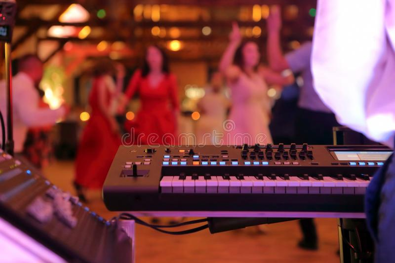 Dancing couples during party event or wedding celebration.  stock photography