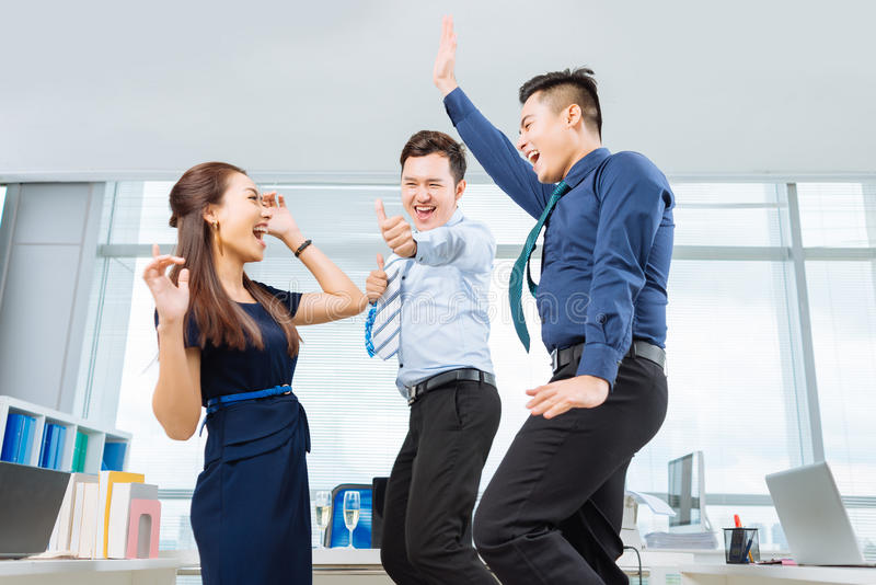 Dancing coworkers royalty free stock photo