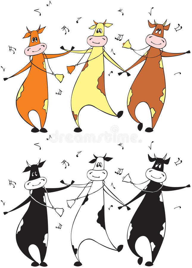 Dancing cows stock illustration