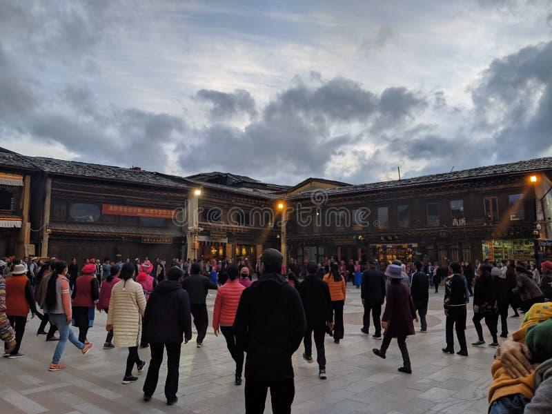 Dancing culture in shangri-la. Dancing culture shangri-la china travel royalty free stock photo