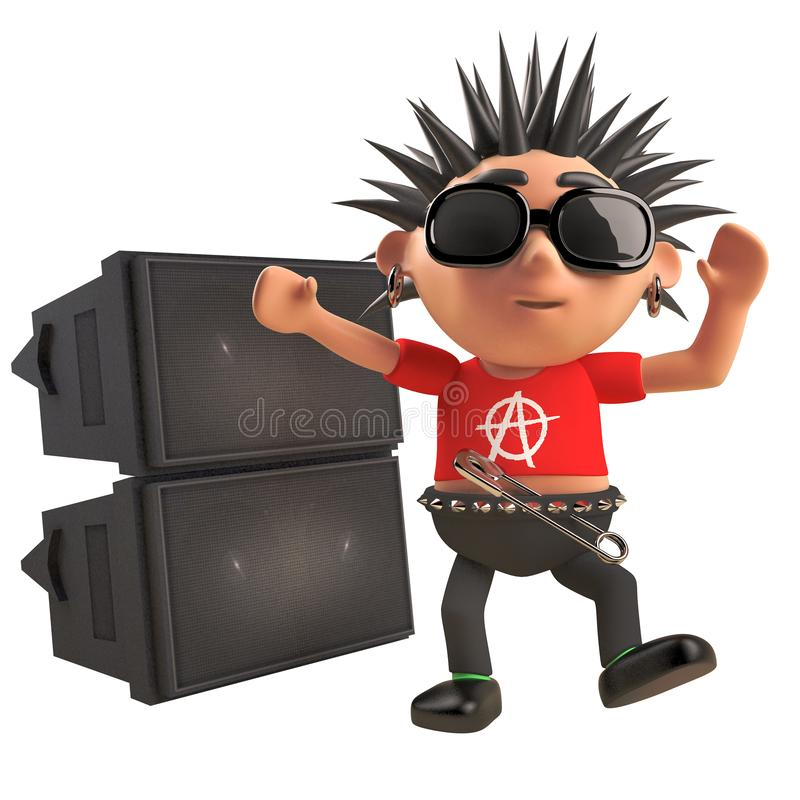 Dancing 3d cartoon punk rocker with spiky hair in front of a rave party pa sound system, 3d illustration royalty free illustration