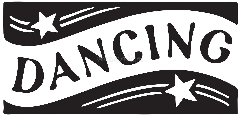 Dancing 4. Retro Ad Art Banner stock illustration