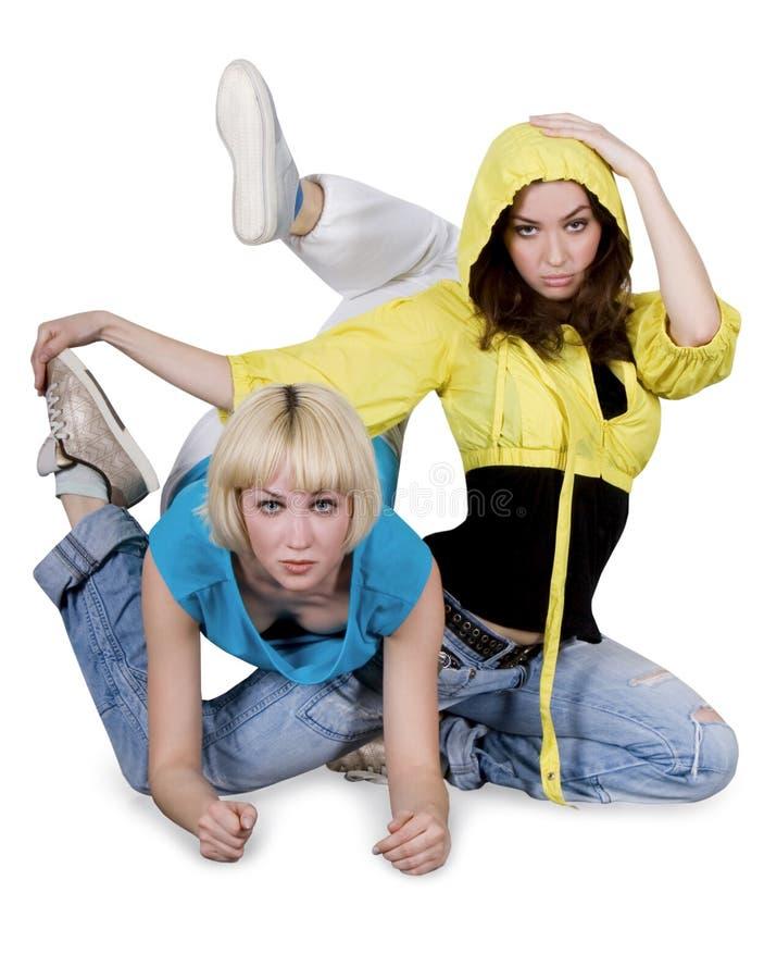 Dancing dell'adolescente sopra la priorità bassa bianca fotografie stock libere da diritti