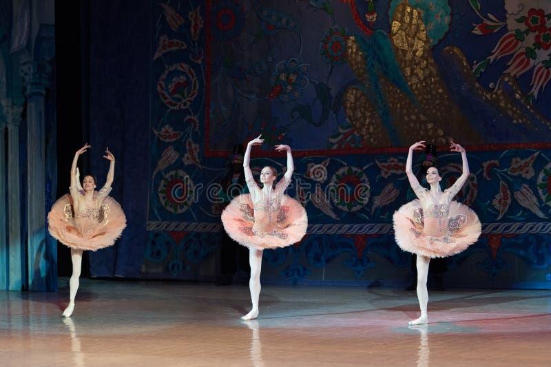 Dancing della ballerina del ballerino di balletto durante il balletto Corsar fotografia stock libera da diritti