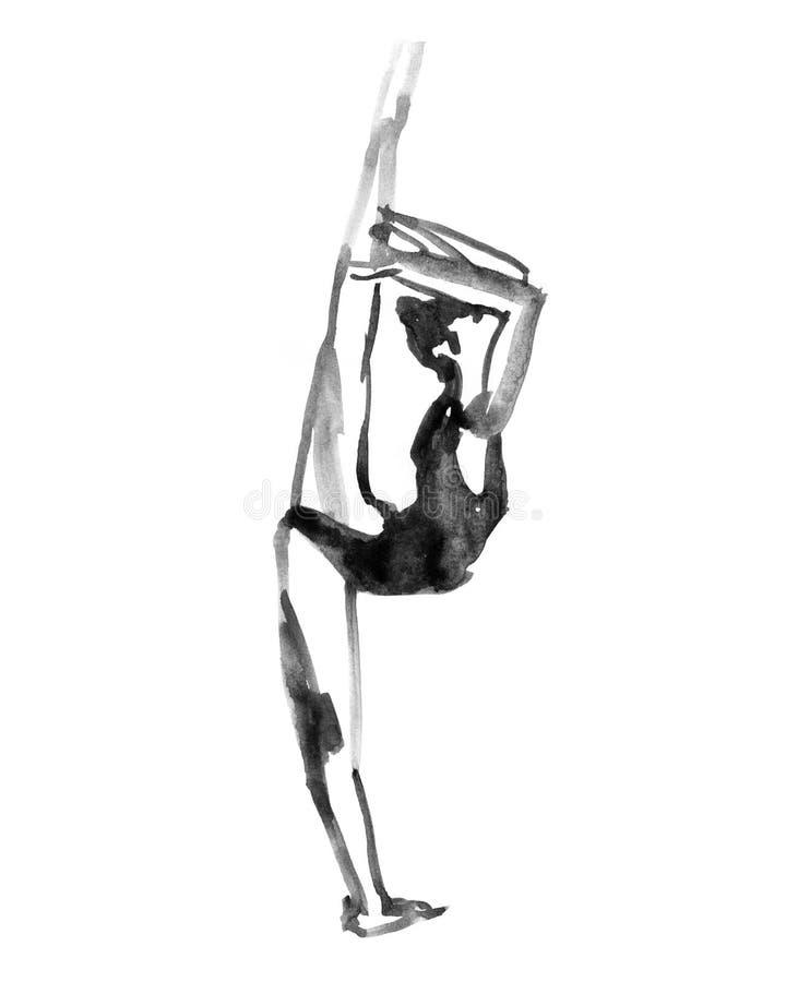 Dancing della ballerina Illustrazione dell'acquerello su fondo bianco royalty illustrazione gratis