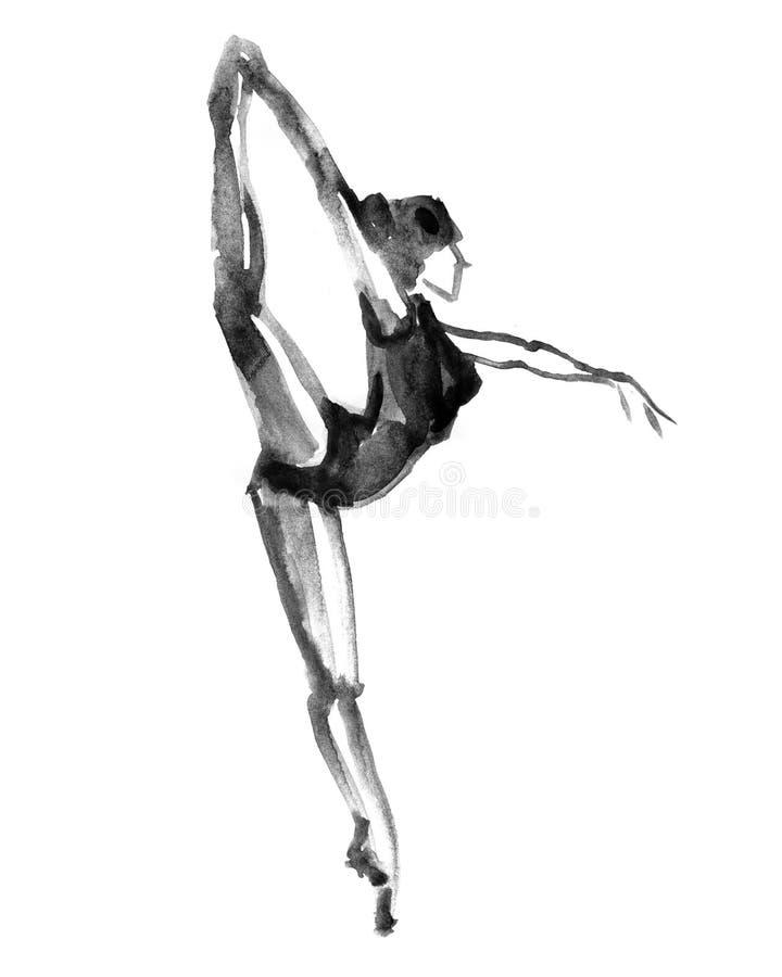 Dancing della ballerina Illustrazione dell'acquerello su fondo bianco illustrazione vettoriale