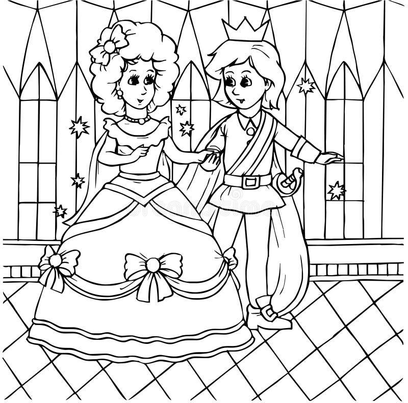 Dancing della Cinderella con il principe illustrazione di stock