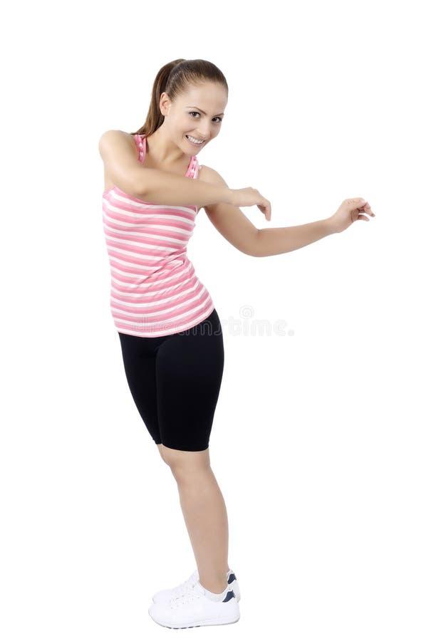 Dancing della donna della classe di ballo di forma fisica di Zumba immagine stock