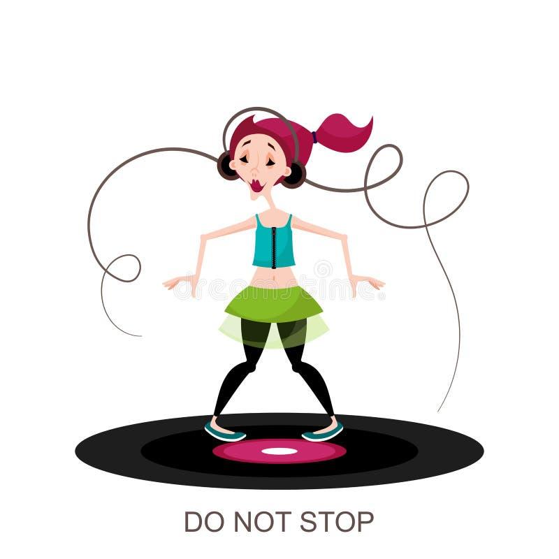 Dancing della ragazza con le cuffie royalty illustrazione gratis