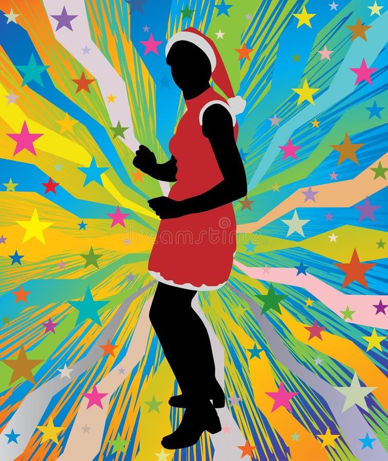 Dancing della ragazza di Santa sul fondo astratto con le stelle illustrazione vettoriale