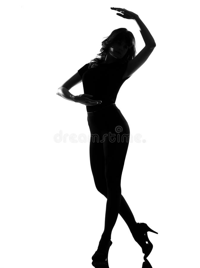 Dancing di balletto della donna della siluetta fotografia stock libera da diritti