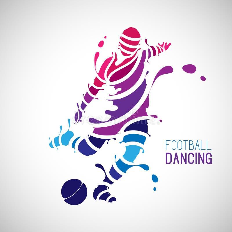 Dancing di calcio con lo stile della spruzzata royalty illustrazione gratis