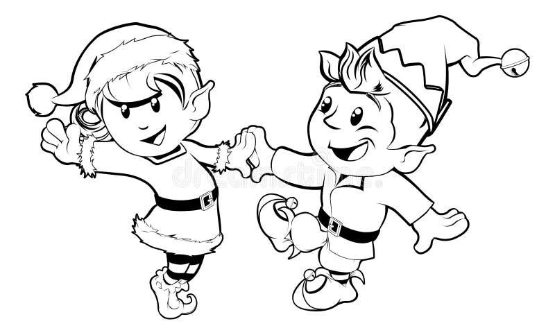 Dancing di natale degli elfi illustrazione di stock