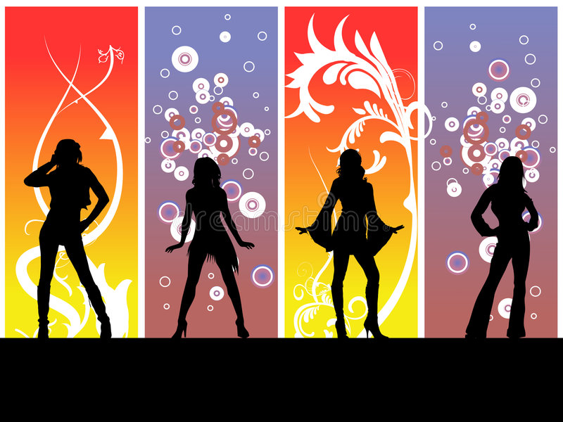 Dancing Disco Girls. Four girls posing on a dance floor, colorful backround behind them vector illustration