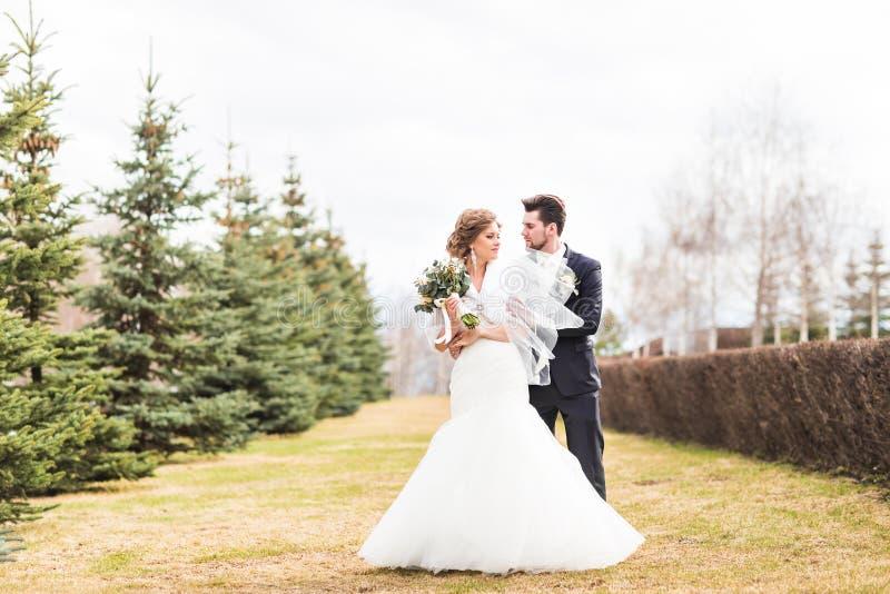 Dancing europeo dello sposo e della sposa nel parco immagine stock libera da diritti