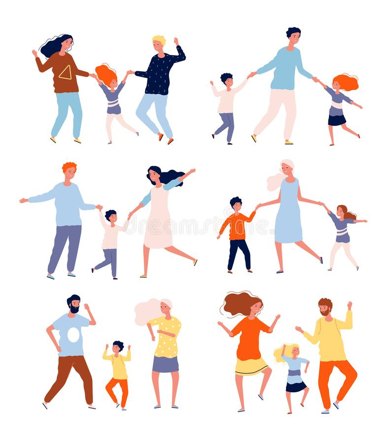 Dancing family. Kids playing and dancing with parents mother father children dancers vector characters collection vector illustration