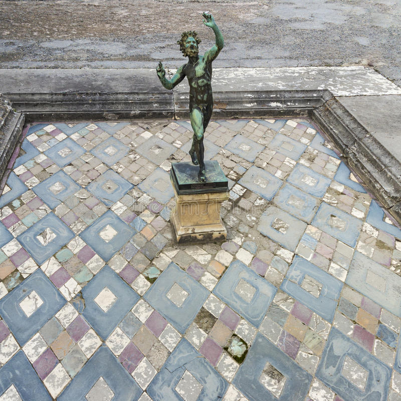 Dancing Faun statue, House of the Faun, Pompeii royalty free stock image