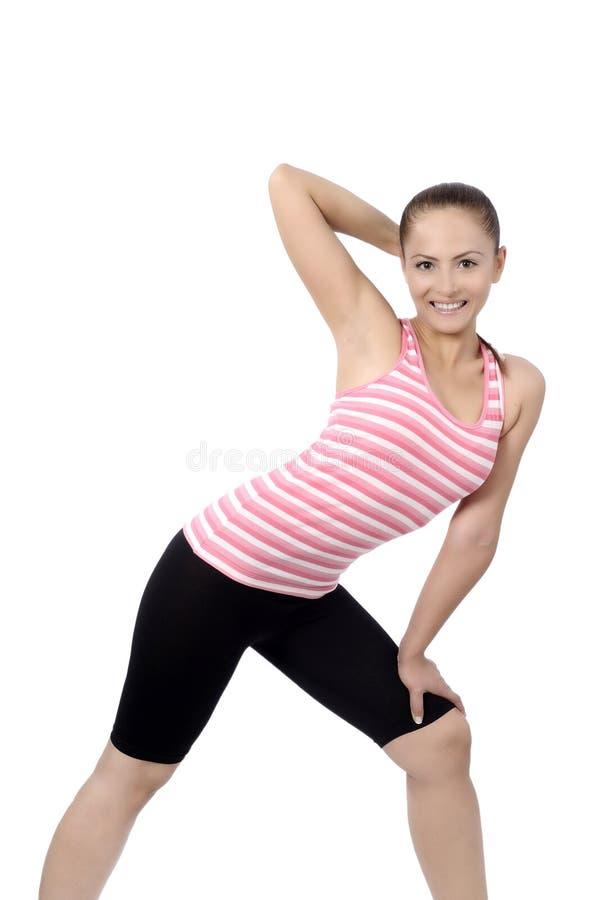 Dancing felice della donna della classe di ballo di forma fisica immagine stock libera da diritti