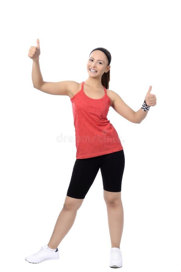 Dancing felice della donna della classe di ballo di forma fisica immagini stock