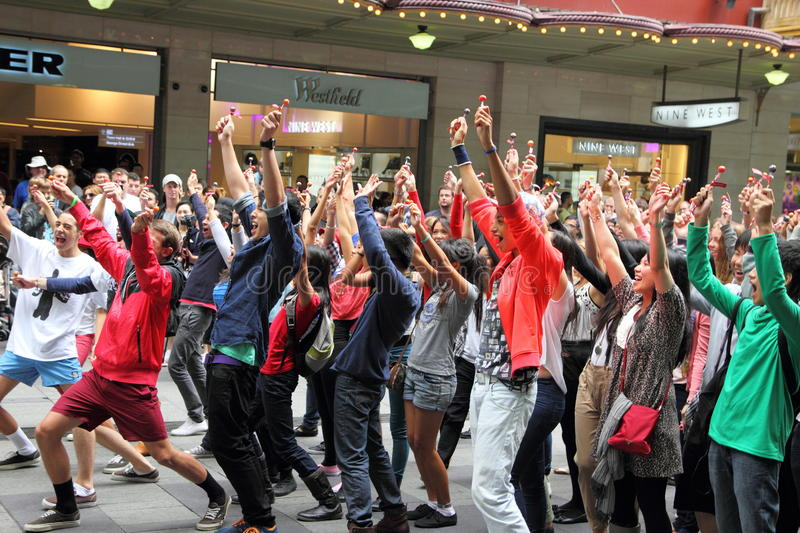 Download Dancing flash mob editorial stock photo. Image of celebration - 24823858