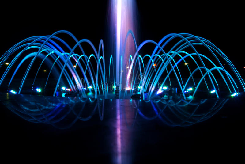 Dancing fountain at night royalty free stock images