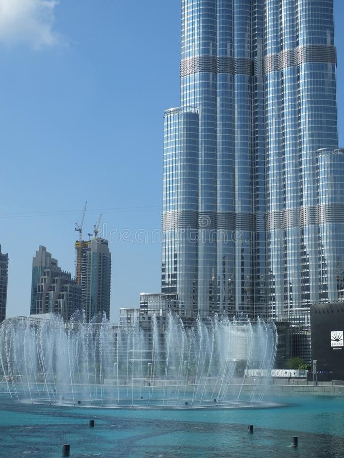 The Dancing fountains downtown and in a man-made lake in Dubai, UAE royalty free stock images