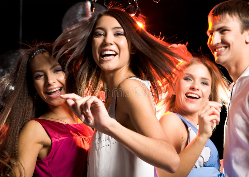 Dancing friends royalty free stock photography